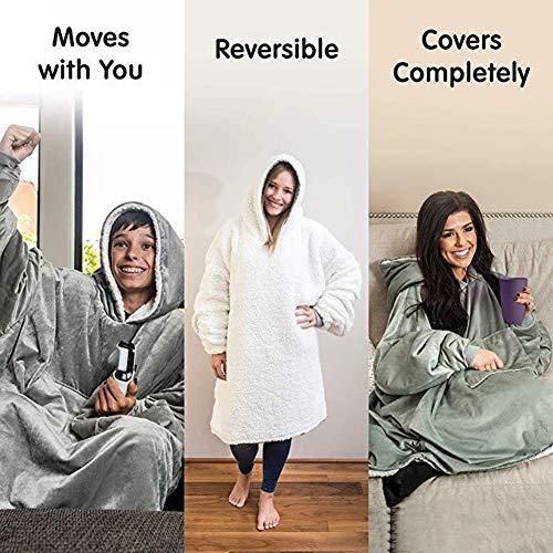 Comme gray Gris onesize Veste Ultra Taille Plush As La D'hiver Hoodie Une À Télé Couverture Vu Wjhw 6TaqwxE