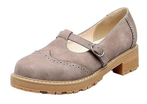 Odomolor Women's Buckle PU Solid Low-Heels Court Shoes Gray