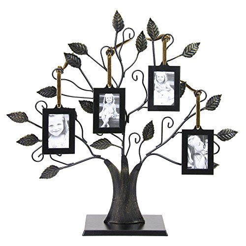 Bronze Family Tree of Life Picture Holder with Four 2 x 3 inch Frames ()