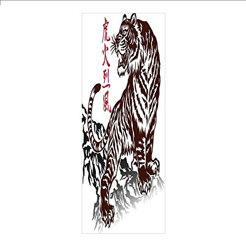 3D Decorative Film Privacy Window Film No Glue,Tattoo,Wild Chinese Tiger with Stripes and Roaring While its Paws on Rock Asian Pattern Decorative,Brown White,for Home&Office -