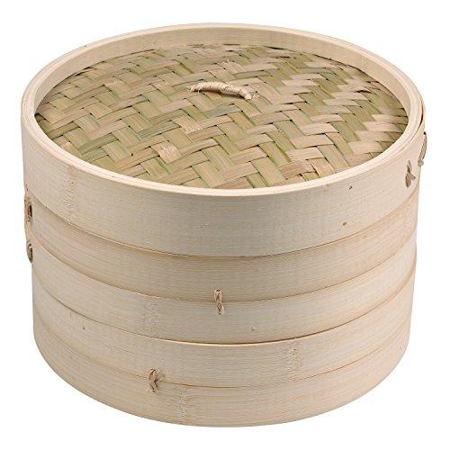 IMUSA USA PAN-10051W Asian Bamboo Steamer, 8-Inch, Tan