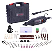 #LightningDeal GOXAWEE Rotary Tool Kit - 140pcs Accessories and Attachments, Variable Speed Mini Die Grinder Electric Drill Set with Keyless Chuck, Flex Shaft for Home Improvement, Woodworking and DIY Creations