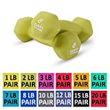 Day 1 Fitness Neoprene Dumbbell Pairs 2 Pounds - Non-Slip, Hexagon Shape, Color Coded, Easy to Read Hand Weights for Muscle Toning, Strength Building, Weight Loss