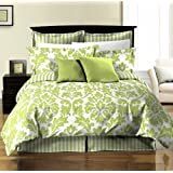Chezmoi Collection 8-Piece Soft Microfiber Reversible Leaf/Stripe Bed-In-A-Bag Comforter with Sheet Set California-Cal Size, Green