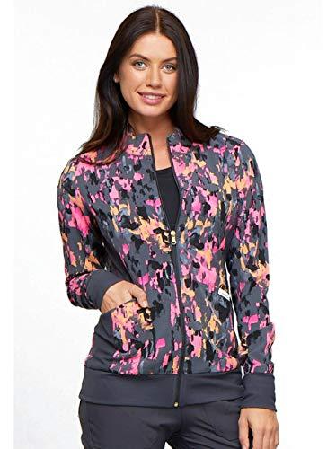 Cherokee Fashion Prints Women's Zip Front Abstract Print Scrub Jacket Xx-Large Print
