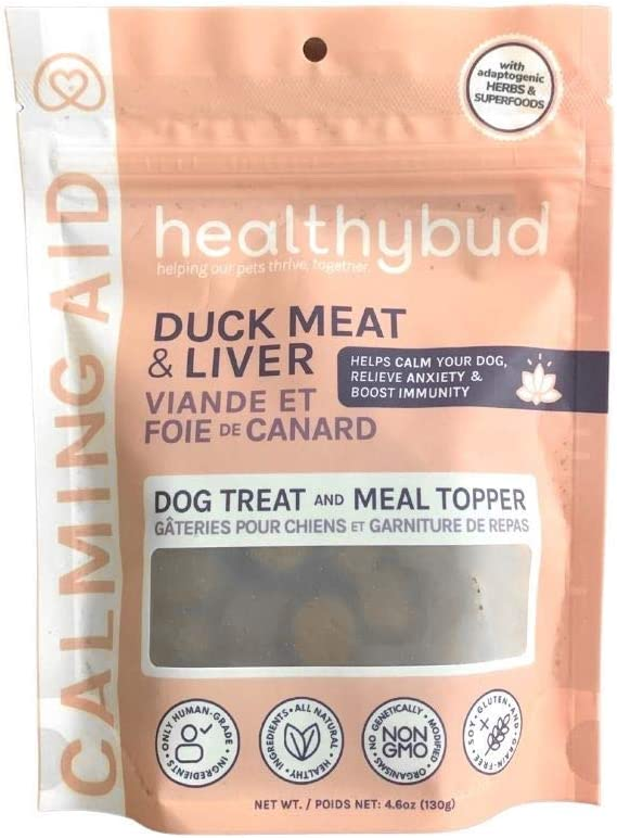 Duck Natural Calming Dog Treats & Chews - Dog Food Topper for Anxiety Relief - Dog Separation Anxiety Relief & Stress Reduction - Provides Aggression Relief - Support Calm & Immunity Health - 4.6oz