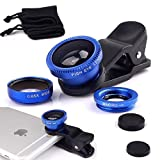 3 in 1 180° Universal Clip-On 180 Degree Supreme Fisheye + 0.65X Wide Angle + 10X Macro Lens For iPhone 6 / 6 Plus, iPhone 5 5S 4 4S Samsung HTC (No Dark Circle by the Fisheye lens) (Blue)