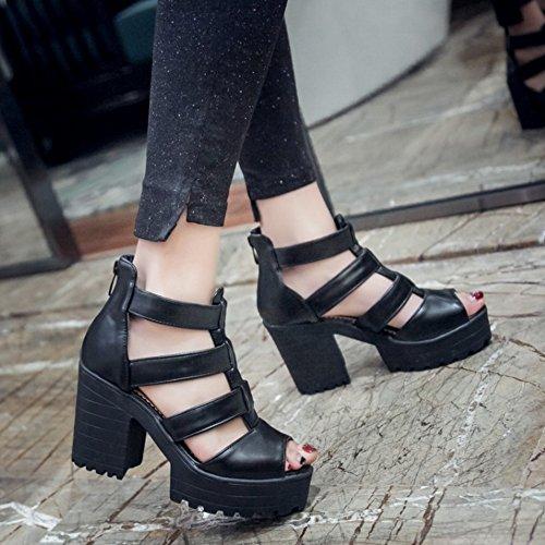 COOLCEPT Mujer Moda Correa en T Sandalias Peep Toe Tacon Ancho Plataforma Zapatos con Cremallera Negro