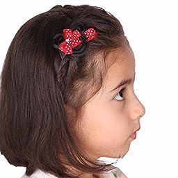 LCLHB 12 Pack Mini Animal Assorted Ribbon Hair Bow for Little Girls Toddler Kids