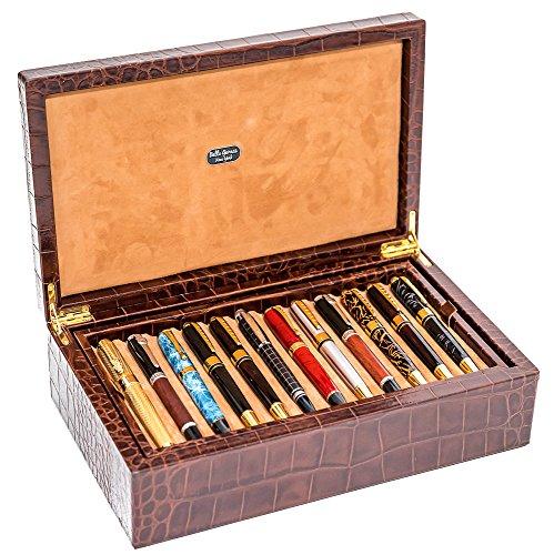 Bello Collezioni - Via Del Leone Genuine Croco Leather Luxury Pen Box for 24 Pens Made in Italy