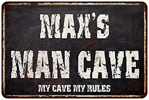 HarrodxBOX Max's Man Cave Black Grunge Sign Decorative Metal Signs for Women Wall Post Tin Sign Present