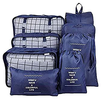 TFun 8 Set Packing Cubes Waterproof Lightweight Travel Storage Suitcase Luggage Organizer with Shoes Bag and Toiletry Bag (Navy)