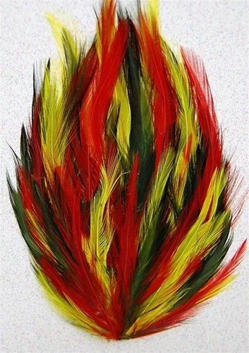 6 Pcs Hackle Feather Pads - MULTI COLORED (Moss/Yellow/Orange)