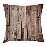 Wooden Throw Pillow Cushion Cover by Ambesonne, Vintage Barn Shed Floor Wall Planks Sepia Art Old Natural Plywood Lodge Image Print, Decorative Square Accent Pillow Case, 18 X18 Inches, Grey Brown
