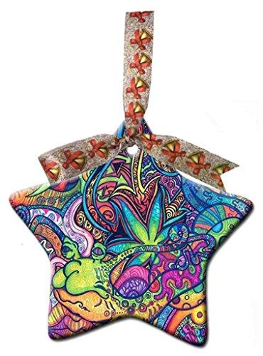(Tie Dye Hippie Hippie Custom Gift Star Christmas Ornaments Ceramic Crafts Home)