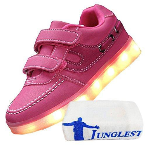 (Present:kleines Handtuch)JUNGLEST® Little Boy Mädchen Kind USB Lade LED leuchten Glow beiläufige Schuh Rosa