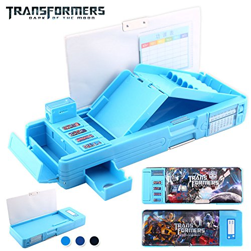 Transformers Students Multifunction Stationery Pencil Case Korean Sky Blue Box (Names Of Monster High Characters)