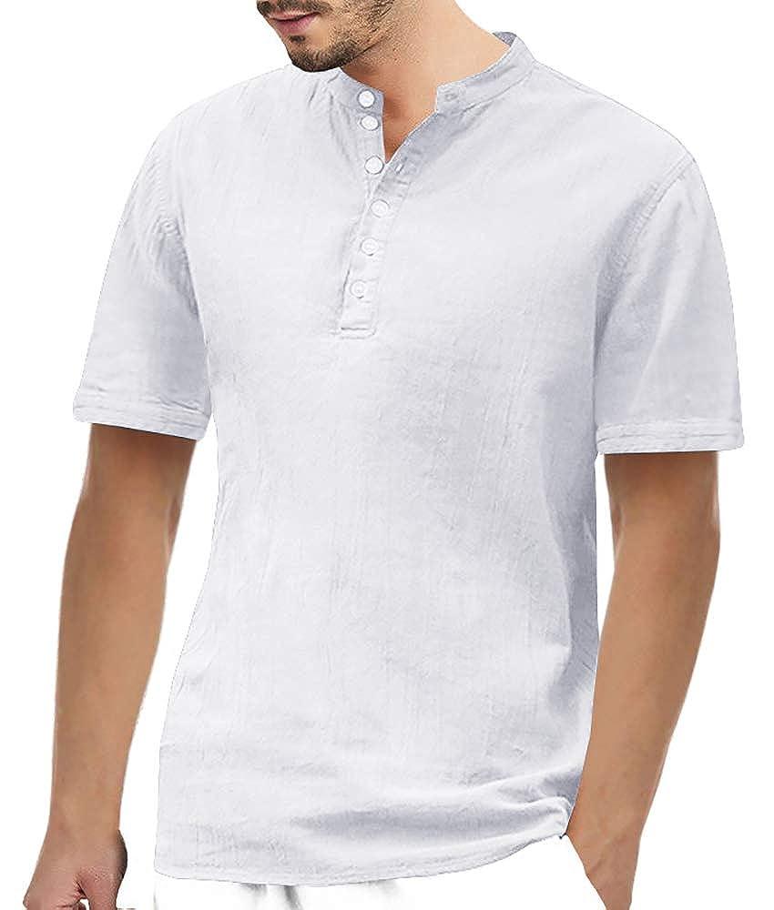 PASLTER Mens Henley Shirts Cotton Linen Hippie Shirts Short Sleeve Casual Loose Fit Henley T-Shirt Tops