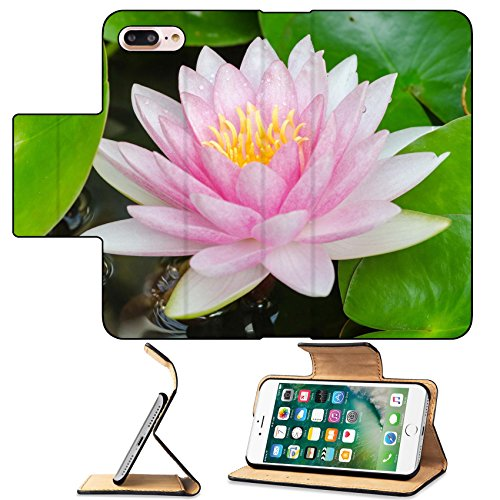 MSD Premium Apple iPhone 7 Plus Flip Pu Leather Wallet Case colorful of purple water lily IMAGE 20393539