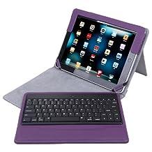 HDE iPad 2 Keyboard Case Wireless Bluetooth Leather Folio Cover Folding Stand for Apple iPad 2 3 4 (Purple)