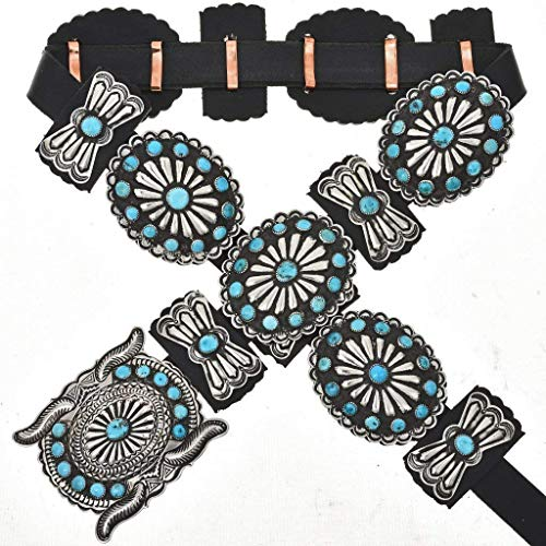(Old Pawn Style Turquoise Concho Belt Navajo Antiqued Silver)