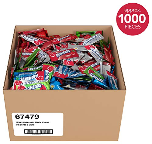 Airheads Candy Mini Bars, Halloween Bulk Box, Individually Wrapped, Assorted Flavors, Non Melting, Party, 25 ()