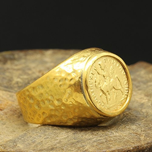 Mens Signet Coin Ring 925 Sterling Silver 24K Gold Vermeil Handcrafted Hammered Ancient Roman Art Hand Forged Ring (Hammered Silver Coins)