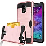 Note 4 Case, Galaxy Note 4 Wallet Case, Jwest [Card Slot] Shock Absorbent Armor Hybrid Defender Brushed Metal Texture Shockproof Protective Wallet Cover Case For Samsung Galaxy Note 4 - Rose Gold