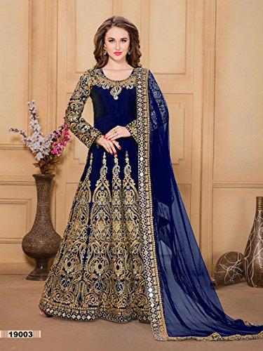 da musulmano donna lungo cerimonia da indiano festa misura Blue Abito Salwar Vestito Abito Abito abito abito sposa Abito da Abito nuovo hijab cerimonia su Navy da per 2683 Anarkali Kameez Bwp0x