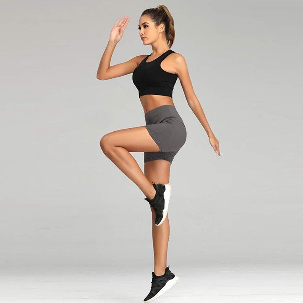Kiminana Women Abdomen Control Training Shorts Fashion Pure Color High Waist Yoga Pants Comfy Quick-Drying Sports Shorts