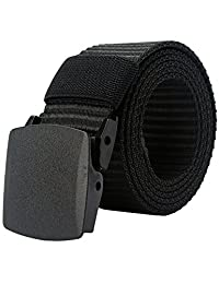 PARVENZA Men's Canvas Nylon Military Tactical Web Duty Belt with No Metal Black PVZ0612B