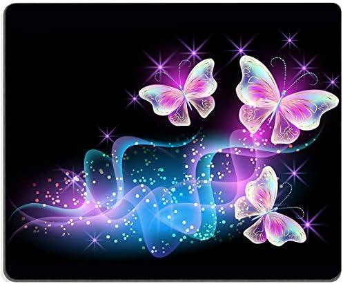 "Glowing Night Pink Butterflies MousePadNon-SlipRubberBaseGamingMousePadsforComputersLaptopOffice,9.5""x7.9""x0.12""Inch(240mmx200mmx3mm)"
