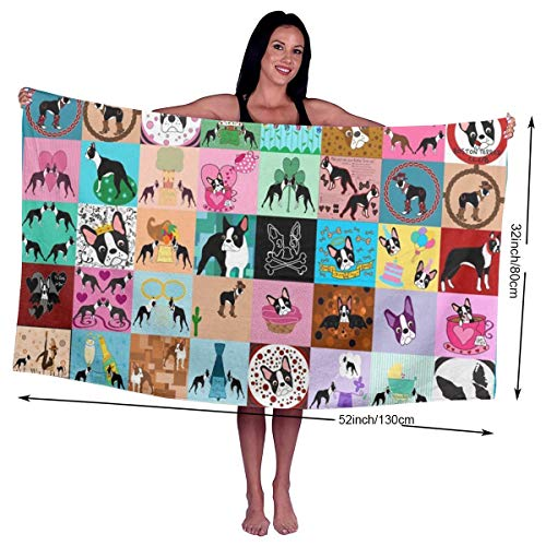 (Crazy Faux Boston Terrier Microfiber Beach Towels - Travel, Compact Sports, Camping, Surf - Pool Towels - Sand Free, Quick Dry, Extra Absorbent (32 x 52 inches))