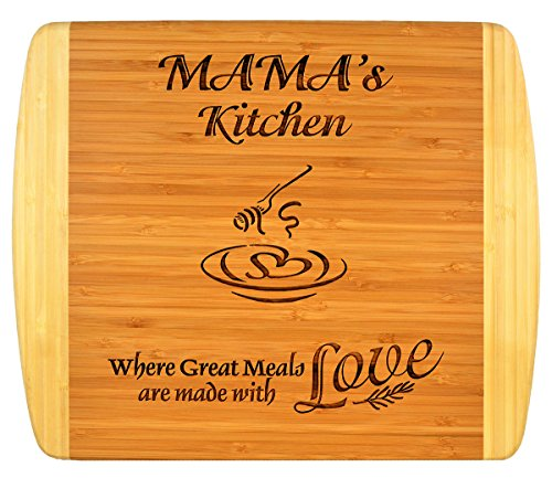 """MAMA GIFT ~ """"Mama's Kitchen Where Great Meals are made with Love"""" 2-Tone Bamboo Cutting Board w/ Heart Middle Grandma Christmas Birthday Mothers Day Engraved Side Décor Back Side Usage (11.5x13.5)"""