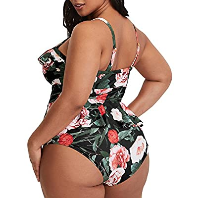 Tutorutor Womens Plus Size Swimwear Peplum Tankini Tops Tummy Control 2 Piece Floral Retro Swimsuits: Clothing