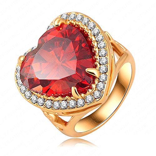 Judith Ripka Sterling Heart (Dudee Jewelry Red Heart Austrian Crystal Ring Jewelry Gold Plated Women Finger Ring Ri-HQ0325)