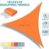 Patio Paradise 12'x12'x12' Waterproof Sun Shade Sail-Orange Triangle UV Block Durable Awning Canopy Outdoor Garden Backyard