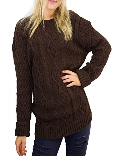 MA ONLINE - Pull - Manches Longues - Femme Rose * Taille Unique Marron
