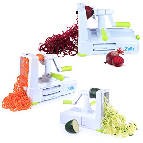 Zalik 5-Blade Spiralizer - Vegetable Spiral Slicer With Powerful Suction Base - Strong & Heavy Duty Veggie Pasta Spaghetti Maker for Low Carb/Paleo/Gluten-Free Meals With Extra Blade Storage Caddy by Zalik (Image #5)