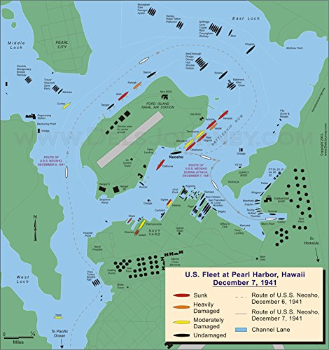 LAMINATED POSTER Map of US Fleet at Pearl Harbor 7 December 1941 POSTER PRINT 24 X 36 1941 Poster Print