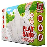 Play Sand Set for Kids - Build White Coloured Kinetic Magic Sandbox Kit with Moulds & Tray - 1lb Super Box Playset