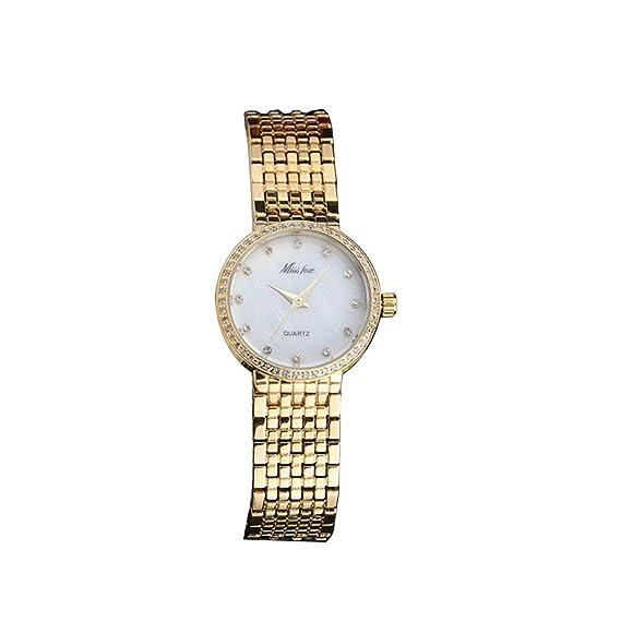 Reloj mujer - Cuarzo Analógico - diamantes rosa oro - Reloj color blanco - pulsera acero 2225: Amazon.es: Relojes