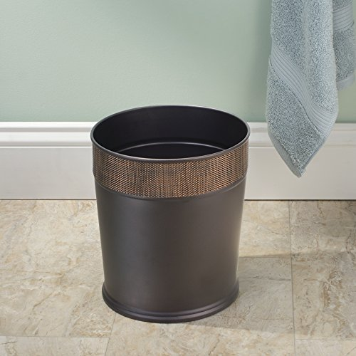 Mdesign Decorative Round Small Trash Can Wastebasket Garbage Container Bin For Bathrooms