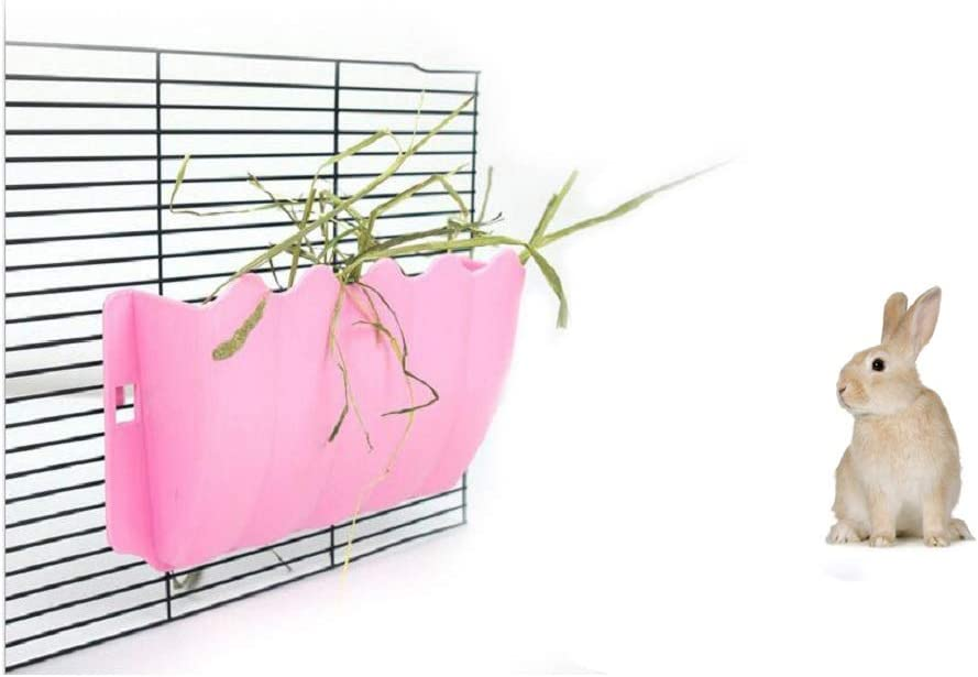 Litewood Rabbit Hanging Hay Feeder Rack Guinea Pig Mess-Free Dispenser Hay Bowl Manger Rack Wall-Mounted for Small Pets Rat Chinchilla Ferret Squirrel Cage Accessories