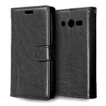 MOONCASE Case for Samsung Galaxy Core LTE 4G G386F Folio Flip Leather Wallet Card Slot and Foldable Stand Feature Pouch Cover Black
