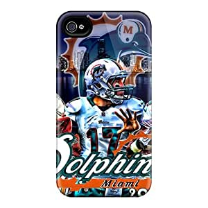 Great Hard Phone Cases For Iphone 4/4s With Customized Colorful Miami Dolphins Pictures KennethKaczmarek