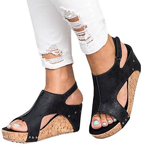ThusFar Peep Toe PU Belt Buckle Rivet Blocking Hook-Loop Fashion Wedges Sandals Summer Platform Sandals Black 10 US