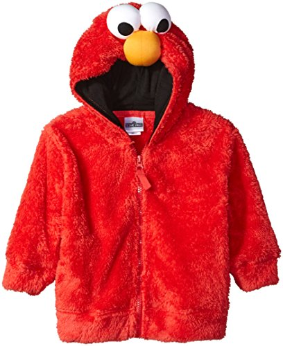 Sesame Street Toddler Boys' Fuzzy Costume Hoodie (Multiple Characters), Elmo Red, 2T