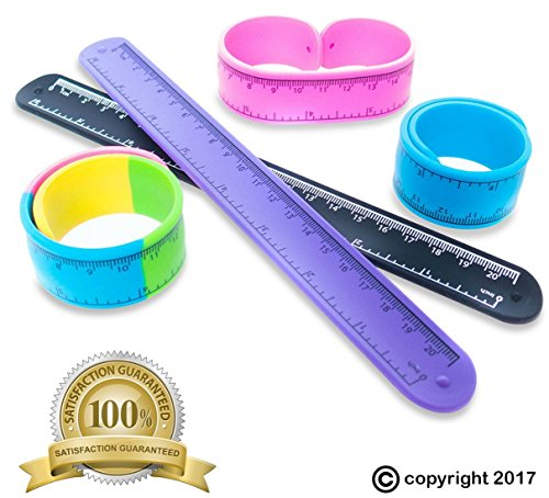 Slap Bracelets Toys for Kids, Girls, Boys 12 PCs - Silicone Wrist Ruler Snap Bracelet - Tape Measure Style for Education and Sensory - Great Birthday Party Favors - Supplies - School Prizes and Gifts by FROG SAC (Image #2)