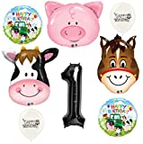 Black Number 1st Birthday Farm Animals Party Decorations Balloon Bouquet Bundle